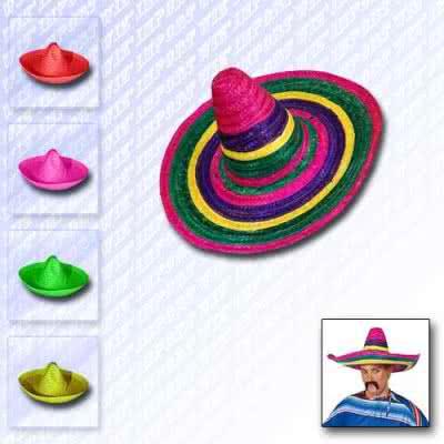 Chapeau mexicain en paille coloré