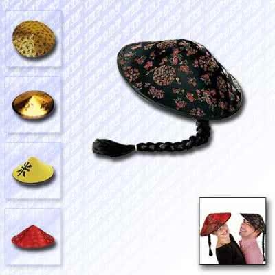 Chapeau chinois en tissu avec natte