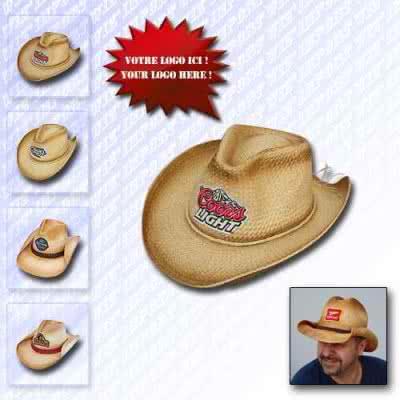 Chapeau cowboy en paille